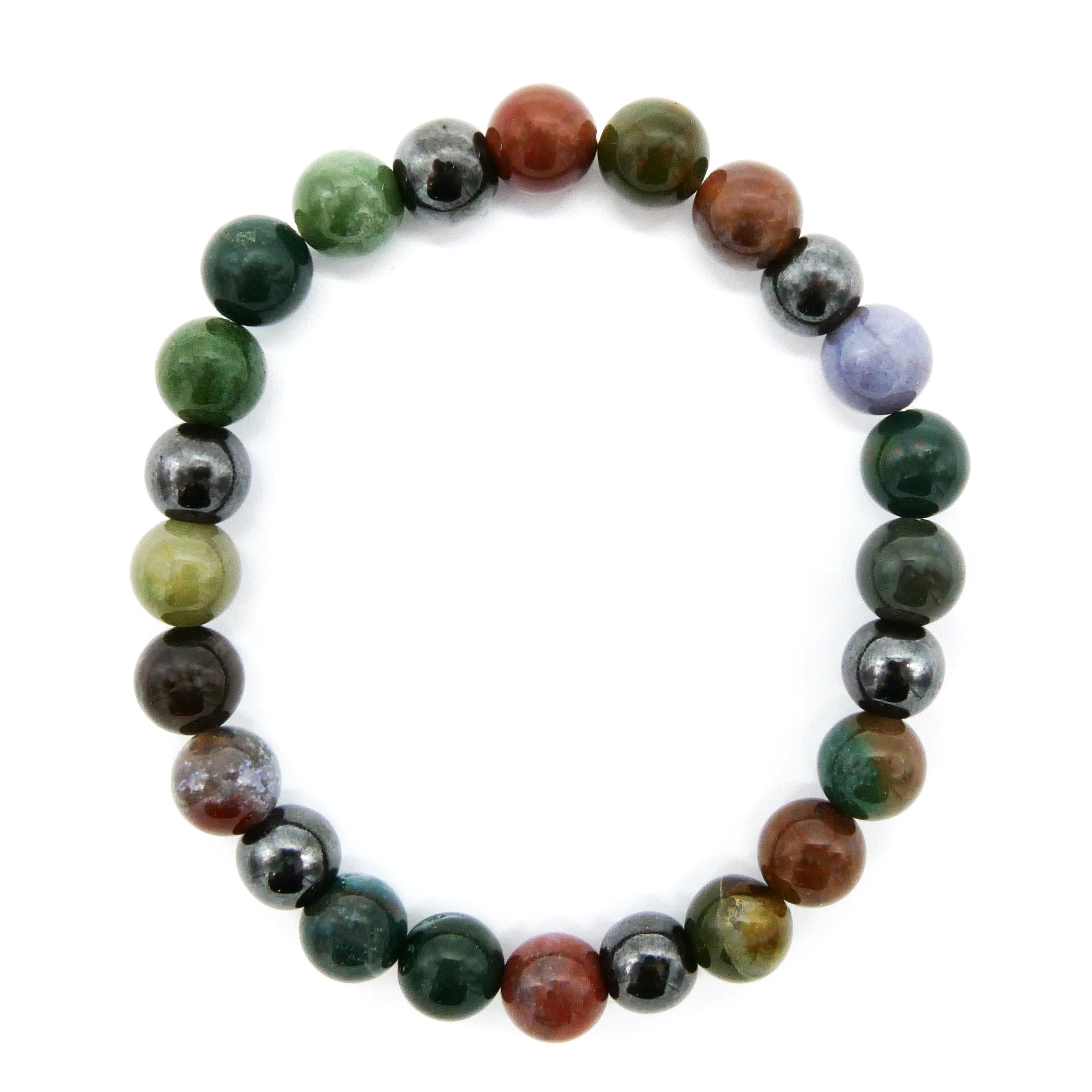 Bracelet Agate Multicolore & Hématite Image