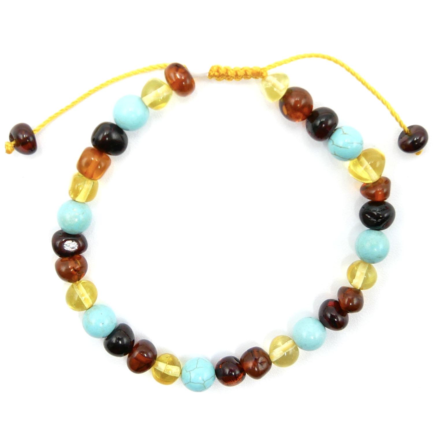Bracelet Réglable - Ambre et Turquoise Image