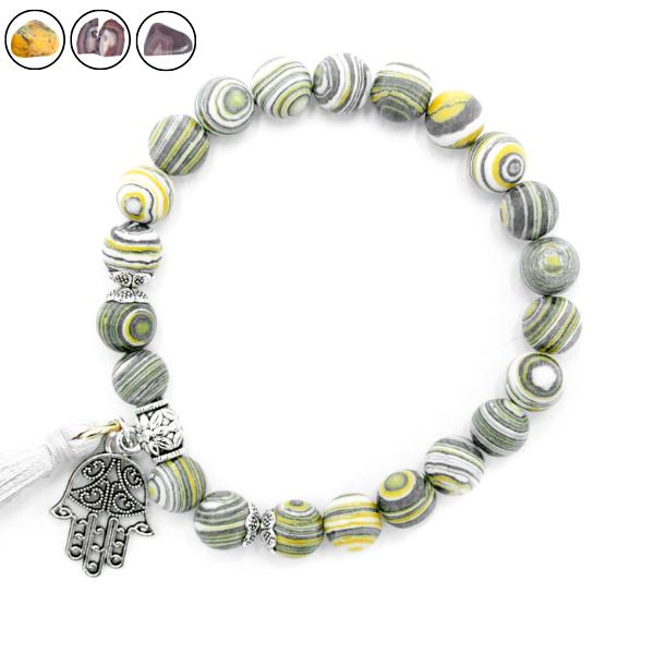 Bracelet Agate & Charm - Différentes Couleurs Image