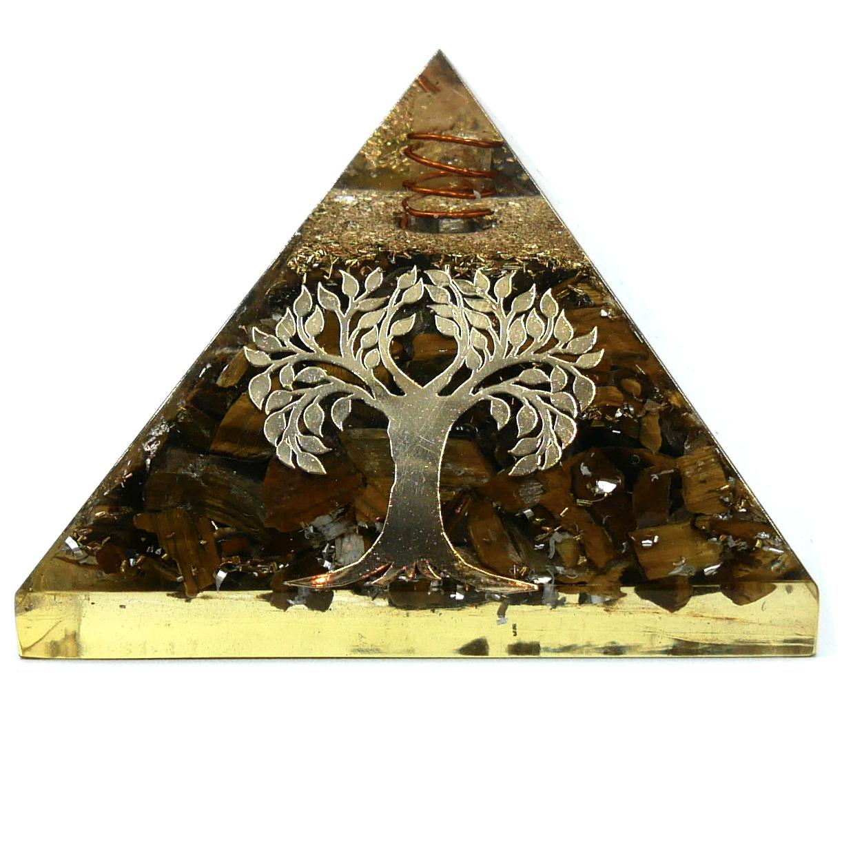 Pyramide Orgonite en Oeil de Tigre - Arbre de Vie Image