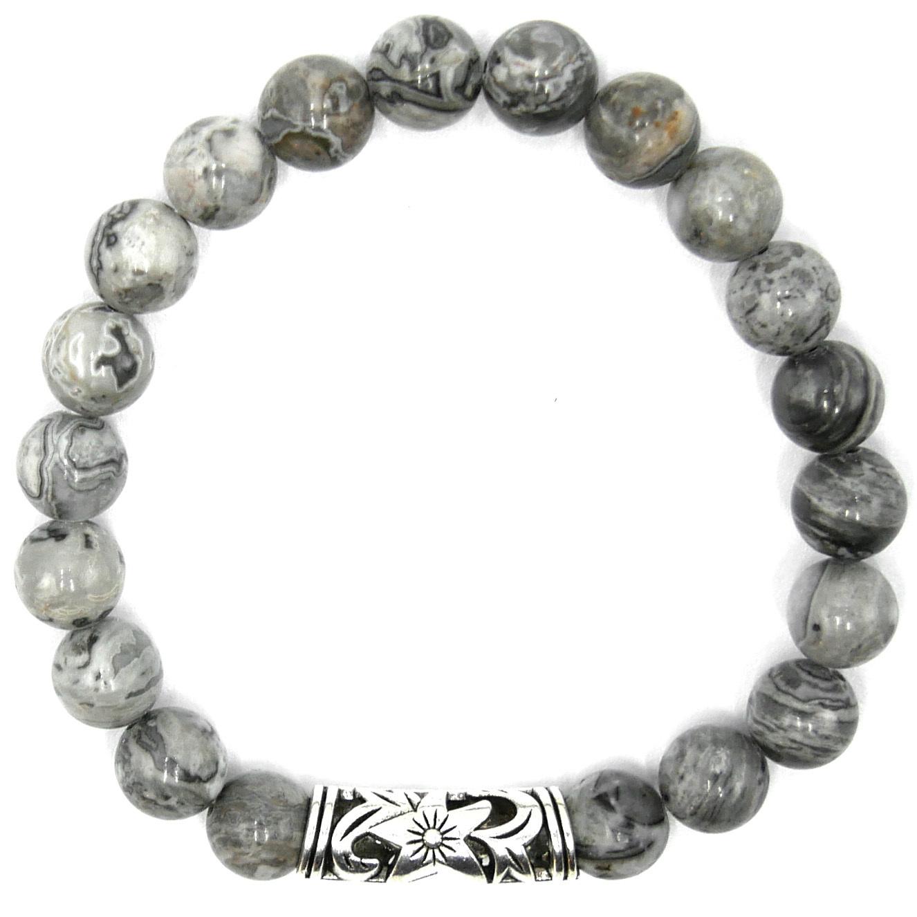 Bracelet Agate Grise - Perle Filigranée Image