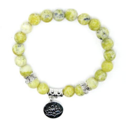 Bracelet Agate jaune - Charm Fleur de Lotus Image