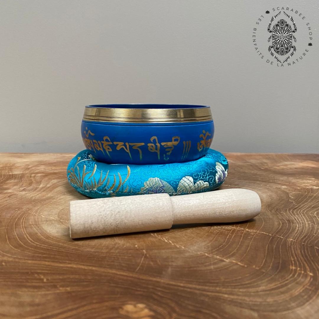 coffret bol tibétain bleu 7.5cm, son coussin et son maillet Image